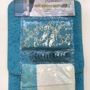 Other - 18 Pieces SHAGGY BATHROOM SETS Turquoise